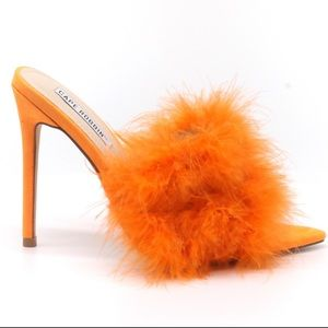Aves Cape Robbin Neon Faux Feather Pointy Toe Stiletto Heel Fashion Mules Heels